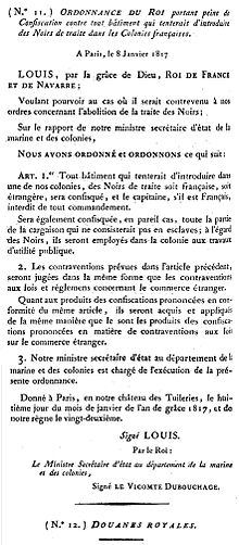 Résultats de recherche d'images pour «ordonnance royale du 8 janvier 1817 esclavage»
