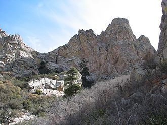 Organ Mountains (New Mexico) - View of Organ Needle, the highest of the Organ Mountains at 8,990 feet (2,740 m).