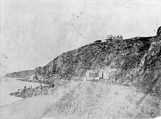 James FitzGerald (New Zealand politician) - Oriental Bay, Wellington showing Fitzgerald's house on top of the hill