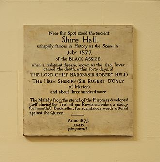 Black Assize of Oxford 1577 - Plaque on a wall inside County Hall