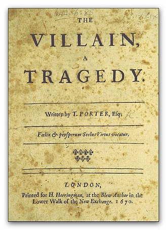 Thomas Porter (dramatist) - Image: PORTER(1670) The Villain, a tragedy
