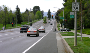Arterial road - Page Mill Road in Palo Alto, California, USA is a typical arterial road in a suburban area. This also has a bike lane.