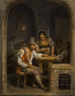 Painting by Alexander Laureus called Roman Osteria, 1820