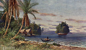 History of Palau - Palau during German colonization: painting by Rudolf Hellgrewe, from Das Buch von unseren Kolonien by Ottomar Beta (Leipzig, 1908)
