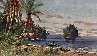 Palau - Palau under German rule; painting by Rudolf Hellgrewe