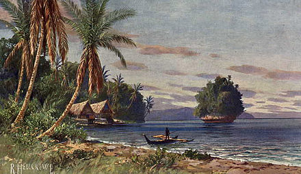 Palau under German rule; painting by Rudolf Hellgrewe c. 1908 Palau-Inseln.jpg
