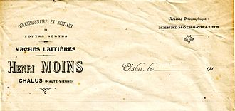 Letterhead - French letterhead paper from a cattle commerce company in 1910