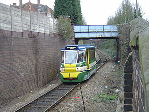 Stourbridge Town branch line - Parry People Mover approaching Stourbridge Town on 12 March 2006