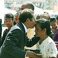 Pascoela de Araujo Duarte receives the Ordem de Timor-Leste, on behalf of her husband, Matias Gouveia Duarte, from the President of Timor-Leste, Taur Matan Ruak.jpg