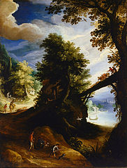 A wooded landscape with a bridge and sportsmen at the edge of the river