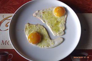 Fried egg - Fried eggs served with Vegeta spice in Croatia