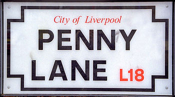English: A Penny Lane street sign