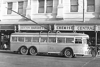 Trolleybuses in Perth - Image: Perth trolleybus number 22 (side) 1949