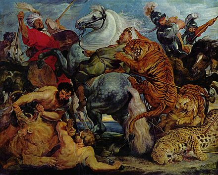 "Peter Paul Rubens, The Tiger, Leopard and Lion Hunt, c. 1617-1618. Musee des Beaux Arts, Rennes. This painting is typical of Rubens's ""exotic"" hunts painted between about 1615 and 1625. Peter Paul Rubens 110.jpg"