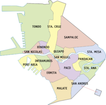 Map of Manila that was divided according to its districts