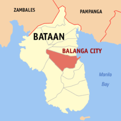 Map of Bataan showing the location of Balanga City.
