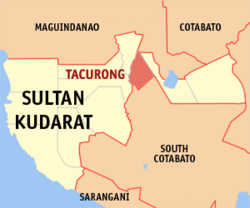 Map of Sultan Kudarat showing the location of Tacurong City.