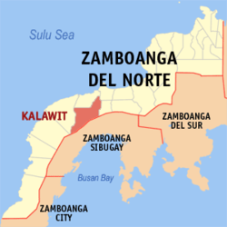 Map of Zamboanga del Norte showing the location of Kalawit