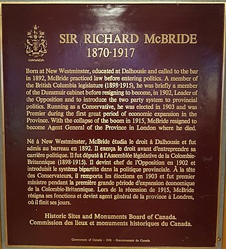 Richard McBride - Plaque from Richard McBride Elementary about the former premier.