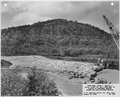 "Photograph with caption ""Upper Miss. River, Dam No. 8...Portion of Completed Derrick Stone, 800 foot spillway section."" - NARA - 282390.tif"
