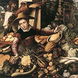 Pieter Aertsen: Marktfrau am Gemüsestand