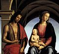 Pietro Perugino - The Madonna between St John the Baptist and St Sebastian (detail) - WGA17290.jpg