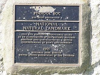 Pinhook Bog - Image: Pinhook Bog NNL Plaque