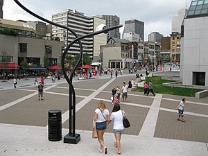 Quartier des spectacles - Place des Arts, facing Sainte-Catherine Street.