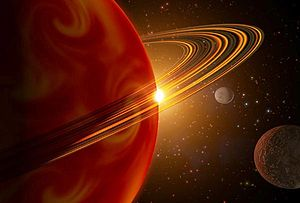 Giant planet - An artist's conception of 79 Ceti b, the first extrasolar giant planet found with a minimum mass less than Saturn.