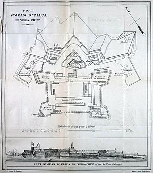 San Juan de Ulúa - Plan and panoramic view of the fort in 1838 from French map during the war between France and Mexico