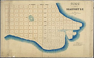 Beaufort, South Carolina - Plan of the City of Beaufort, S.C., as allotted by U.S. Tax Commissioners for the District of South Carolina, February 1863