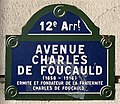 Plaque Avenue Charles Foucauld - Paris XII (FR75) - 2021-01-22 - 1.jpg