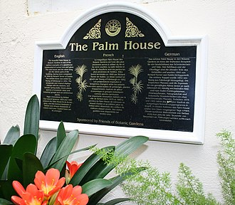 Botanic Gardens (Belfast) - Image: Plaque in Palm House