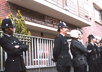 Imperial Typewriter Company - Police in front of Imperial Typewriter in Evington, Leicester during a protest march in 1974