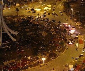 Bahrain Bloody Thursday - Five ambulances arrived at Pearl Roundabout