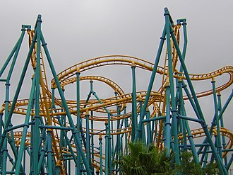 Twister roller coaster - The Poltergeist at Six Flags Fiesta Texas in San Antonio, Texas