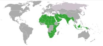Pays autorisant la polygamie en 2006 (en vert)