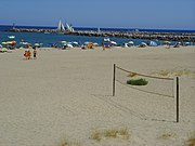Naturist beach at Port Leucate (Aude),France, which illustrates the mixed clothing habits on leading French beaches