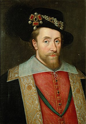 Portrait of James I of England wearing the jewel called the Three Brothers in his hat.jpg