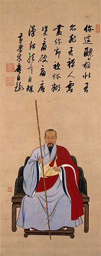 Portrait of Muan Kita chobei Inscription by Muan Triptych hanging scrolls color on paper Kobe City Museum.jpg