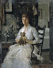 Portrait of a Lady with a Dog (Anna Baker Weir)