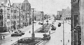 Poznań 1956 protests - Tanks on the empty Joseph Stalin Square in center of Poznań