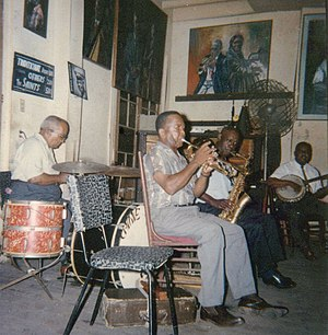 1965 in jazz - Jazz band playing at Preservation Hall, New Orleans, 1965, including Kid Sheik Colar, Captain John Handy, and drummer Alex Bigard.