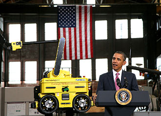 Pittsburgh -  President Barack Obama visiting Carnegie Mellon University's National Robotics Engineering Center in 2011