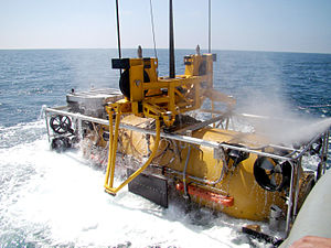 Submarine Rescue Diving Recompression System - The pressurized rescue module (PRM) is recovered from the water after performing a submarine rescue exercise.