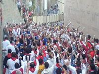 Coureurs demandant la bénédiction de San Firmin