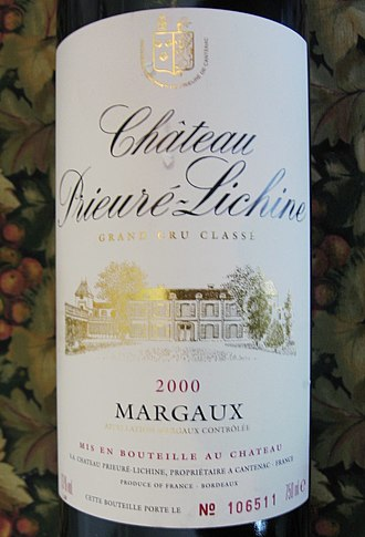 Château Prieuré-Lichine - Château Prieuré-Lichine label from the 2000 vintage