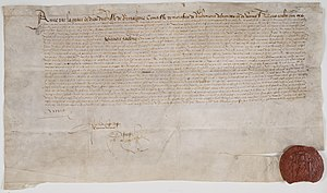 Anne of Brittany - Treaty made signed on Anne's behalf with the Kingdom of England on 15 February 1490. The signing is autograph and also contains the personal seal of the Duchess. Archives nationales, France, AE/II/525.