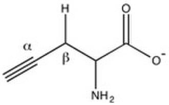 Cystathionine gamma-lyase - Propargylglycine (acidic beta hydrogen explicitly shown).