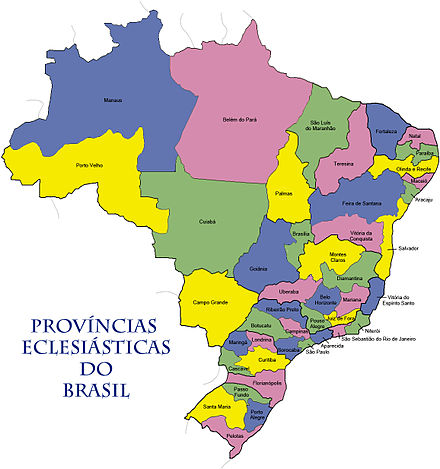 Catholic Ecclesiastical provinces of Brazil Provincias eclesiasticas do brasil.jpg